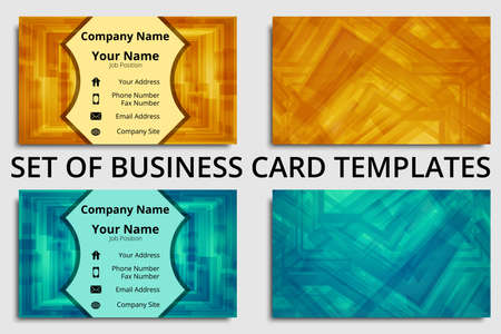 Premium set of business cards with abstract design in blue, green, orange, and yellow shades Çizim