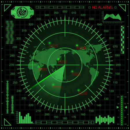 Abstract digital radar screen with world map, targets and futuristic user interface of green shades on dark background Çizim