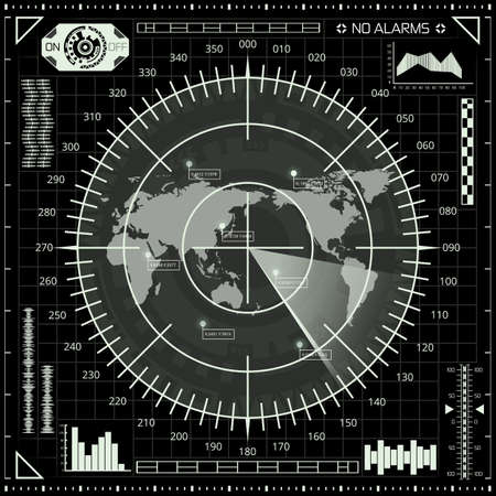 Abstract digital radar screen with world map, targets and futuristic user interface of black, grey, and white shades