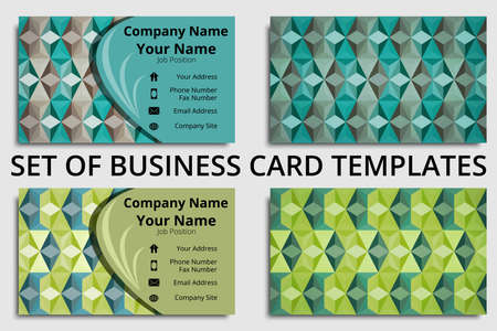 Set of creative business card templates with abstract design in green, teal, and gray shades Çizim