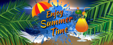 Abstract enjoy summer time banner with umbrella, palm leaves, and icy cocktail glass. Sunset on the beach. Çizim