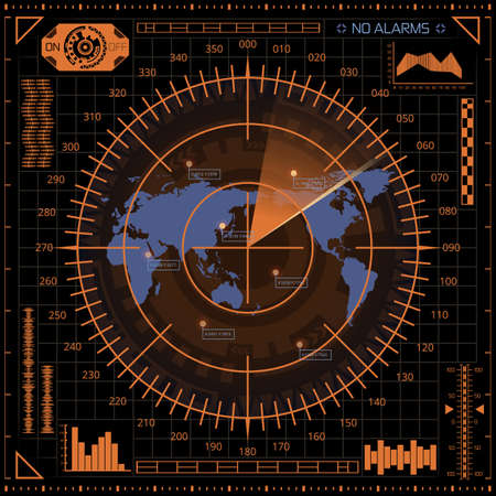 Abstract digital radar screen with world map, targets and futuristic user interface of orange and blue shades on dark background