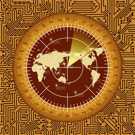 Abstract digital green radar screen with world map, targets and circuit board elements of brown, orange, and yellow shades Çizim
