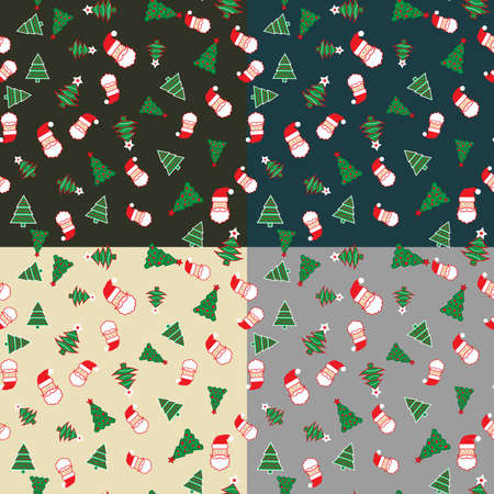 Set of 4 seamless patterns with Santa and Christmas trees for Xmas and New Year designs and packaging