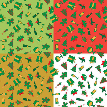 Set of 4 colorful seamless patterns with Christmas and New Year elements Stok Fotoğraf - 90301598