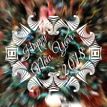 Happy New Year 2018 lettering on blurred background with white decorative frame