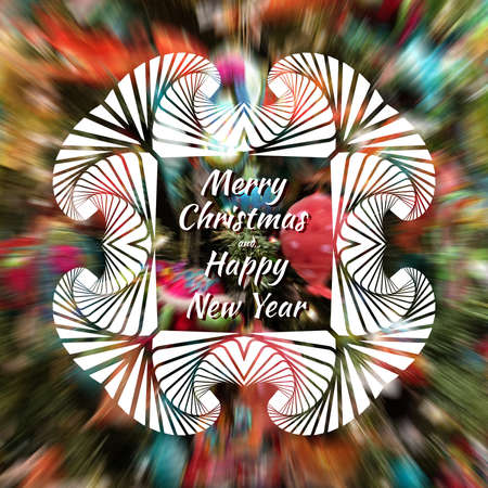 Merry Christmas and Happy New Year text with white ornamental frame on blurred colorful background