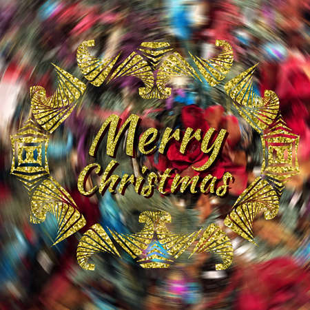 Merry Christmas golden lettering on blurred background with decorative frame Stok Fotoğraf