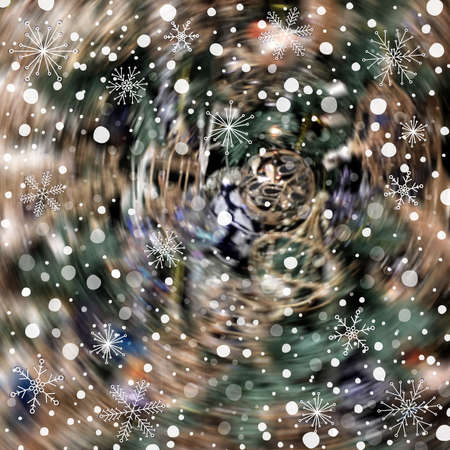 Abstract holiday blurred background with snow and various snowflakes