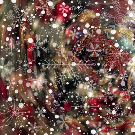 Abstract Christmas and New Year blurred colorful background with snow and various snowflakes Stok Fotoğraf