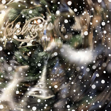 Abstract winter holiday blurred colorful background with snow Stok Fotoğraf - 90360528