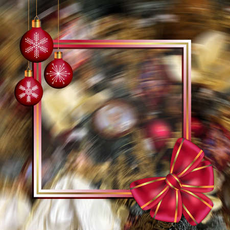 Abstract New Year frame with red bow and Christmas balls on blurred background