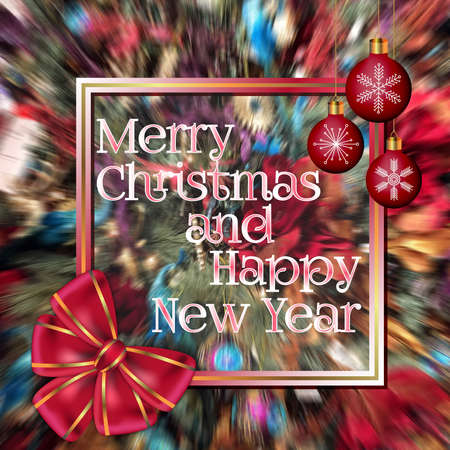 Abstract Merry Christmas and Happy New Year greeting card decorated with red bow and Christmas balls on blurred colorful background Stok Fotoğraf - 90301631