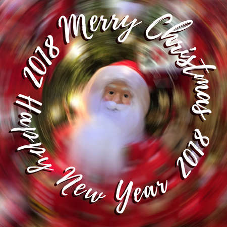 Abstract Merry Christmas and Happy New Year text on blurred background with Santa Claus Stok Fotoğraf - 90338107