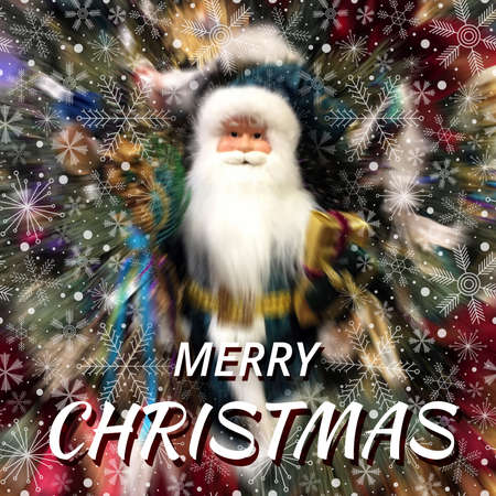 Abstract Merry Christmas blurred background with Santa Claus and various snowflakes Stok Fotoğraf
