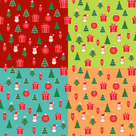 Set of 4 Christmas and New Year seamless patterns with Xmas and winter holidays elements for designs and packaging Çizim