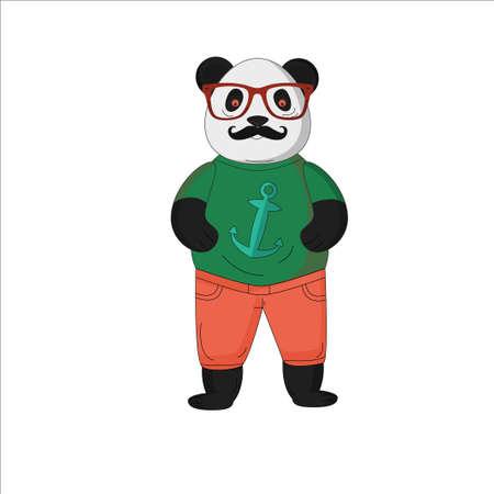 cartoon panda 向量圖像