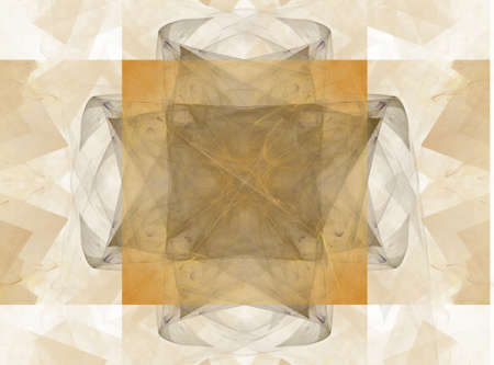 beige: 3D rendering with beige abstract symmetrical fractal Stock Photo