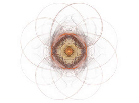 symmetrical: 3D rendering with beige abstract symmetrical fractal Stock Photo