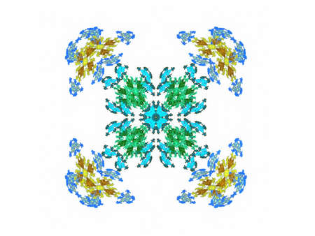 Abstract fractal blue and yellow pattern on a white background