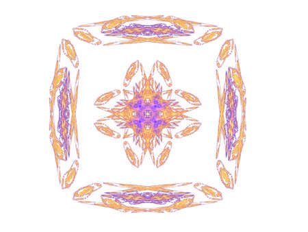 Abstract fractal with orange pattern on white background
