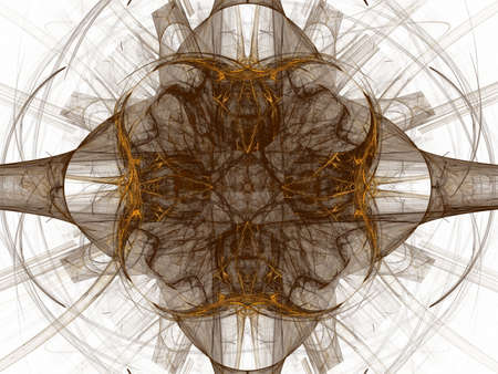 contrast floral: 3D rendrering with brown contrast abstract fractal with floral pattern. Stock Photo