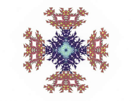 Abstract fractal with colorful pattern on white background Stock Photo