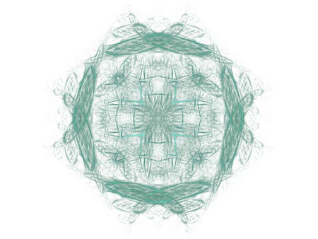 Abstract fractal with a green pattern on a white background Stock Photo
