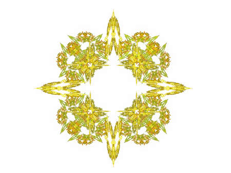 Abstract fractal with yellow pattern on a white background Stock Photo