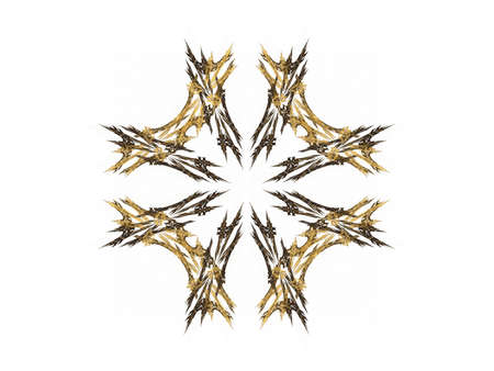 Abstract fractal with gold pattern on a white background Stock Photo