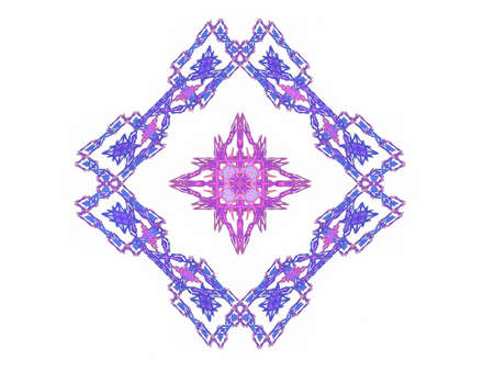 Abstract fractal with purple pink pattern on a white background