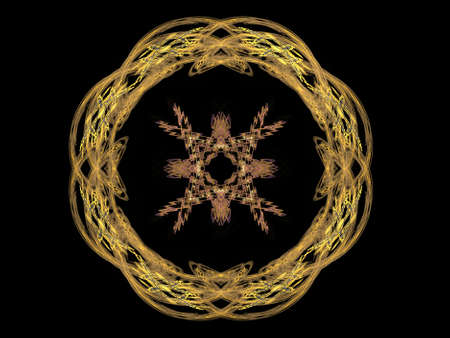 generating: 3D rendering with yellow abstract fractal pattern.