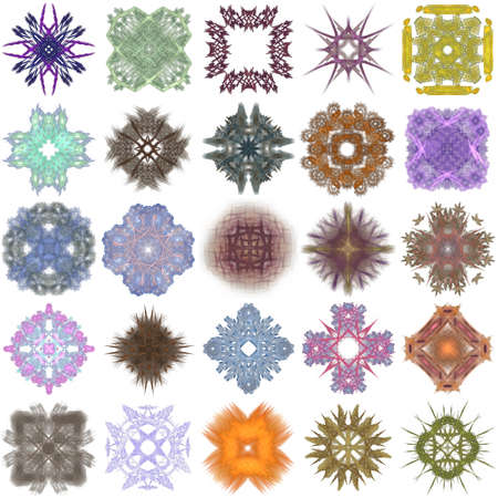 Set of different colored patterns on an abstract fractal.
