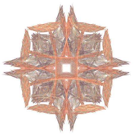 3D rendering with orange abstract fractal pattern. Stock Photo