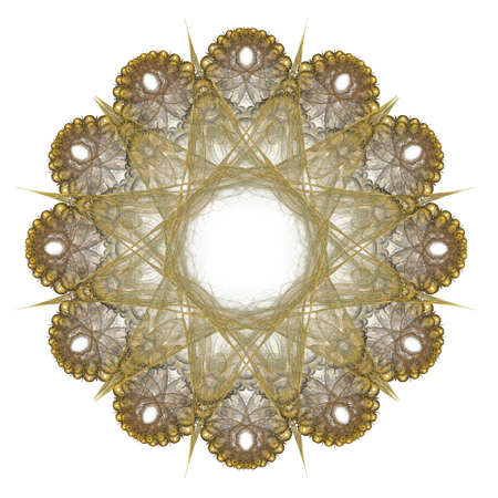 3D rendering with yellow abstract fractal pattern.