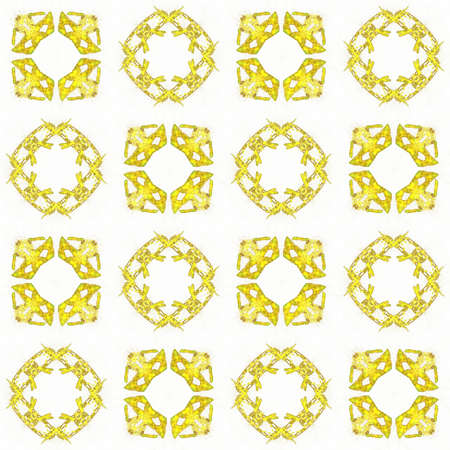 Texture with 3D rendering abstract fractal yellow pattern.