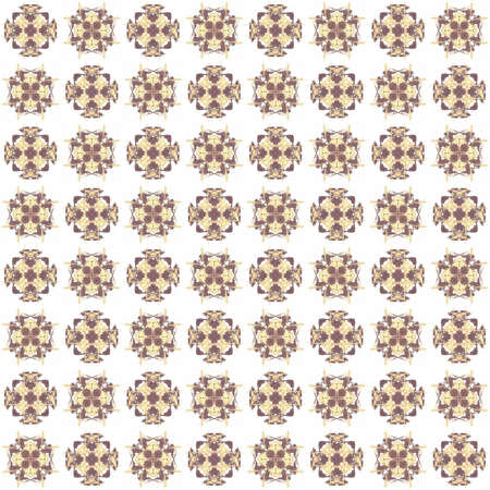 Seamless texture with 3D rendering abstract fractal brown pattern on a white background for fabric design