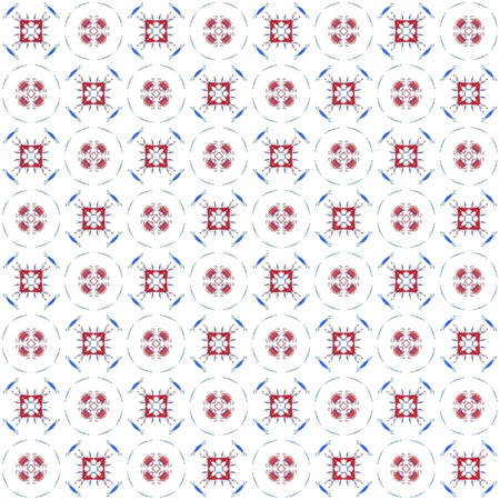 Seamless texture with 3D rendering abstract fractal red blue pattern on a white background for fabric design Stock Photo
