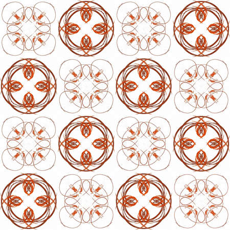 Seamless texture with 3D rendering abstract fractal red pattern on a white background for fabric design Фото со стока