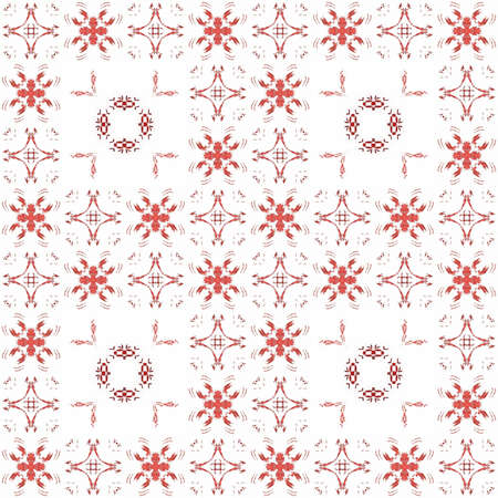 Seamless texture with 3D rendering abstract fractal red pattern on a white background for fabric design Stock Photo