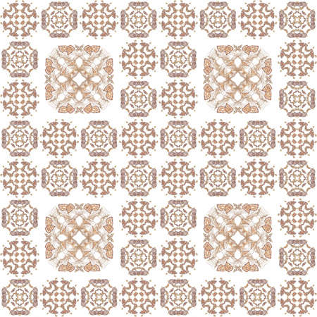 Seamless texture with 3D rendering abstract fractal beige pattern on a white background for fabric design Stock Photo