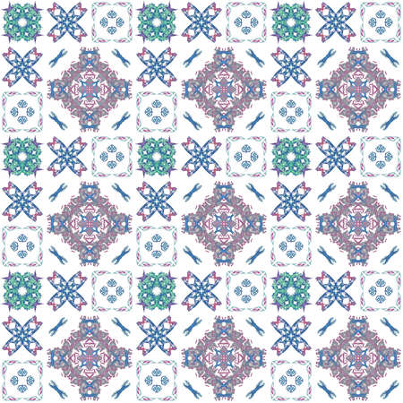 generating: Seamless texture with 3D rendering abstract fractal colorful pattern on a white background for fabric design