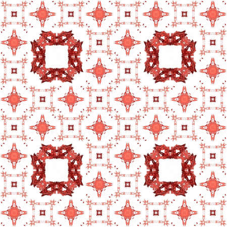 generating: Seamless texture with 3D rendering abstract fractal red pattern on a white background for fabric design Stock Photo