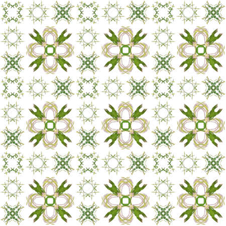 generating: Seamless texture with 3D rendering abstract fractal green pattern on a white background for fabric design