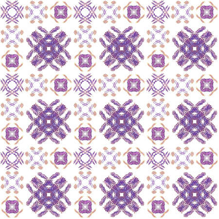 Seamless texture with 3D rendering abstract fractal purple pattern on a white background for fabric design Stock Photo