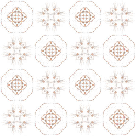 Seamless texture with 3D rendering abstract fractal orange pattern on a white background for fabric design
