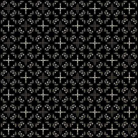 Seamless texture with 3D rendering abstract fractal beige pattern on a black background for fabric design