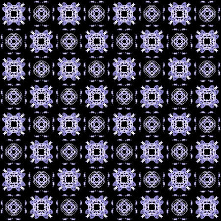 Seamless texture with 3D rendering abstract fractal white pattern on a black background for fabric design