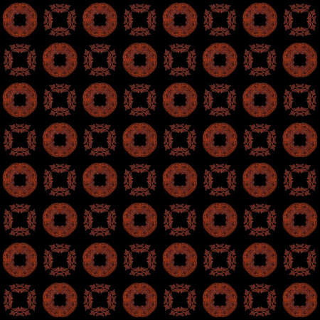 Seamless texture with 3D rendering abstract fractal red pattern on a black background for fabric design