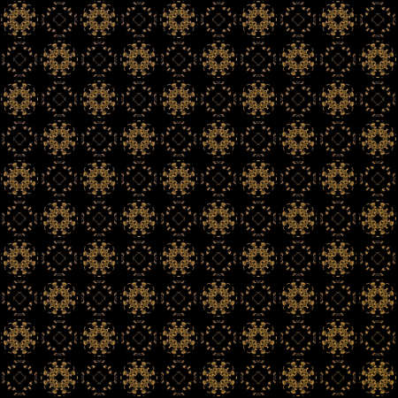 Seamless texture with 3D rendering abstract fractal orange pattern on a black background for fabric design